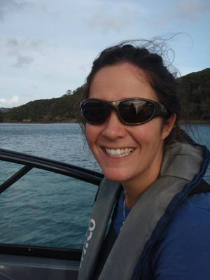 Sarah on research boat at Great Barrier